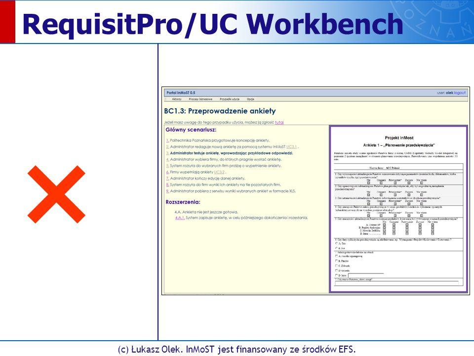 (c) Łukasz Olek. InMoST jest finansowany ze środków EFS. RequisitPro/UC Workbench ×