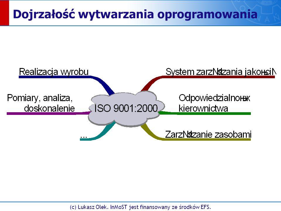 (c) Łukasz Olek. InMoST jest finansowany ze środków EFS. Dojrzałość wytwarzania oprogramowania