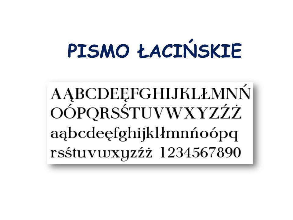 Pismo ł acińskie P ismo alfabetyczne pochodzenia greckiego.
