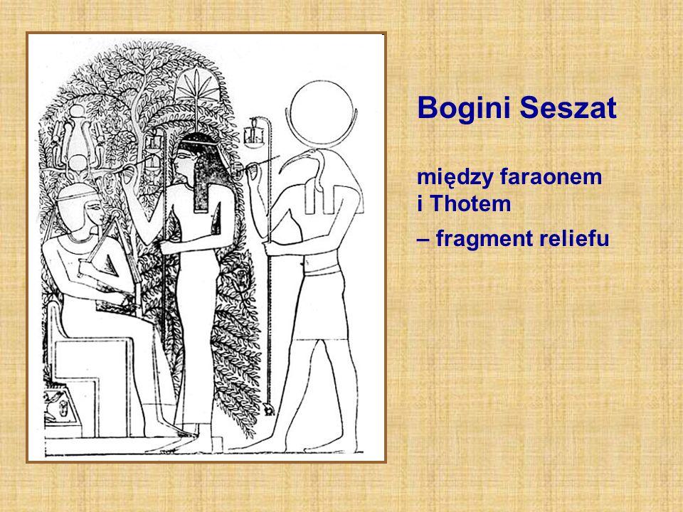 Bogini Seszat między faraonem i Thotem – fragment reliefu