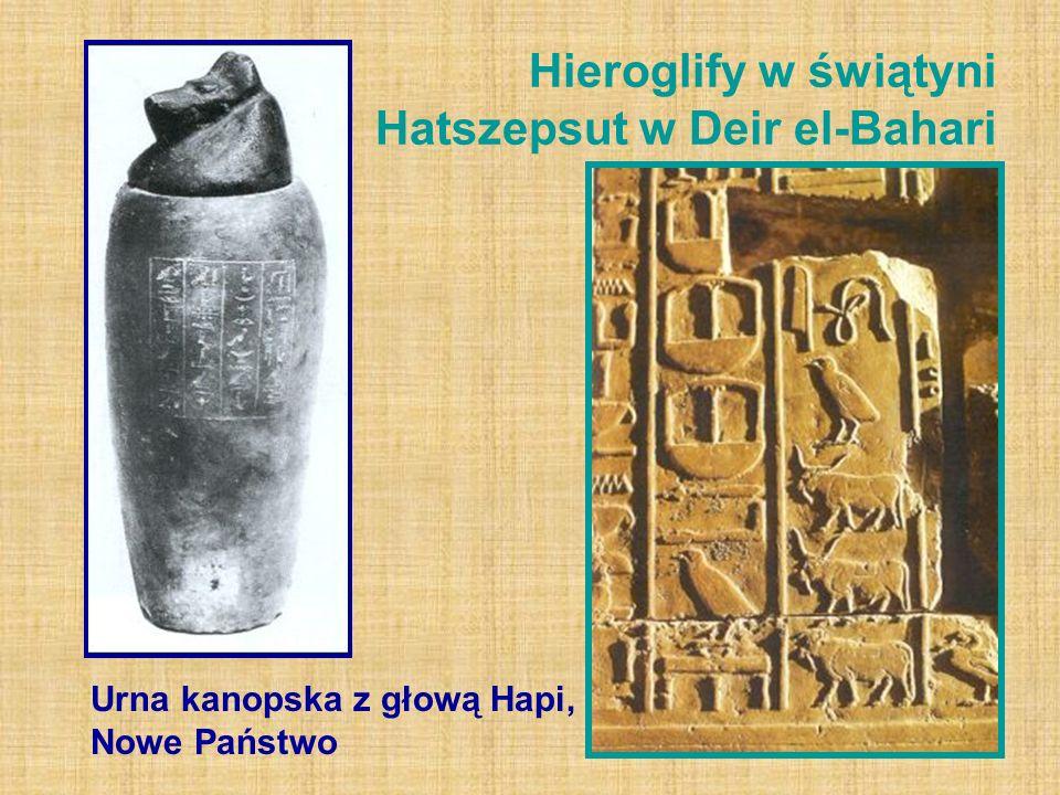 Hieroglify w świątyni Hatszepsut w Deir el-Bahari Urna kanopska z głową Hapi, Nowe Państwo