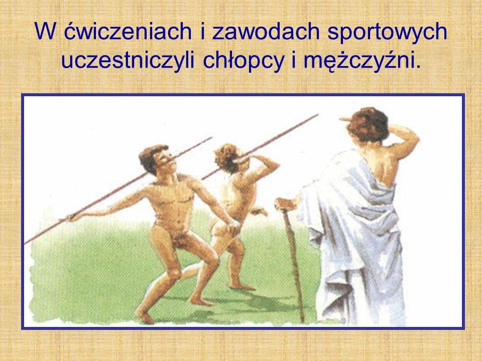 W ćwiczeniach i zawodach sportowych uczestniczyli chłopcy i mężczyźni.