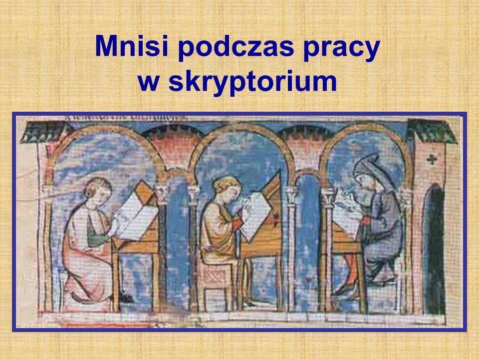 Mnisi podczas pracy w skryptorium