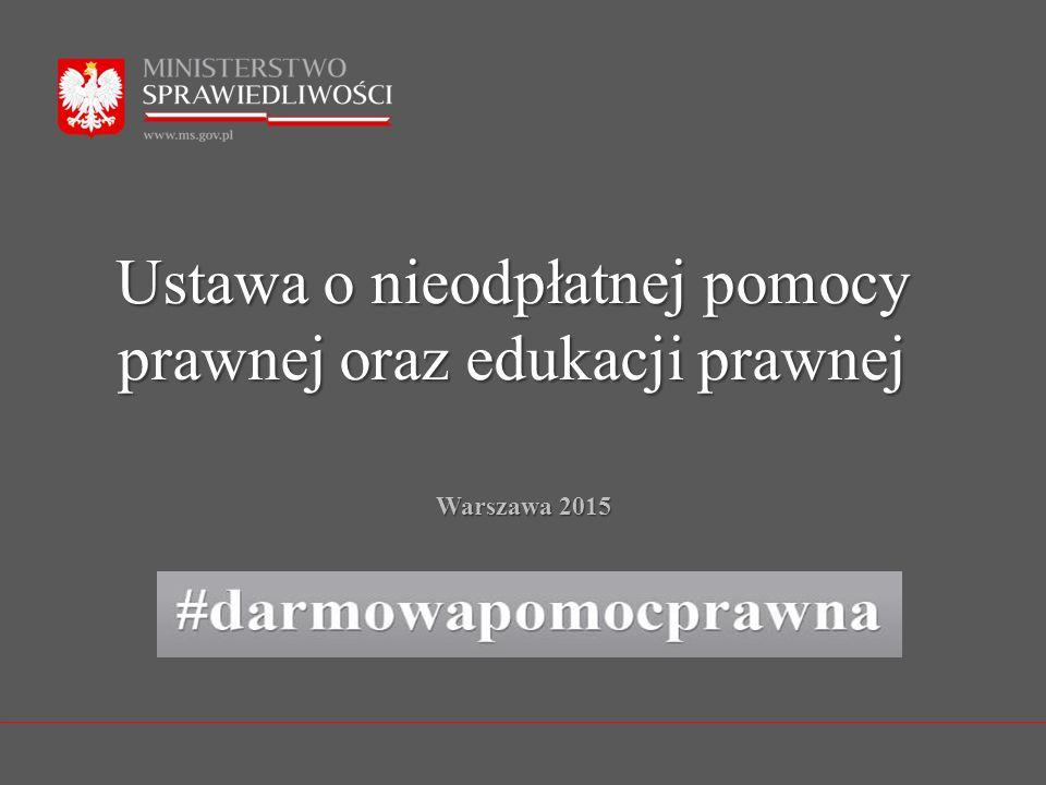 Ustawa o nieodpłatnej pomocy prawnej oraz edukacji prawnej Warszawa 2015