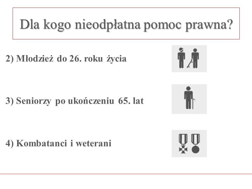 Dla kogo nieodpłatna pomoc prawna? 2) Młodzież do 26. roku życia 3) Seniorzy po ukończeniu 65. lat 4) Kombatanci i weterani