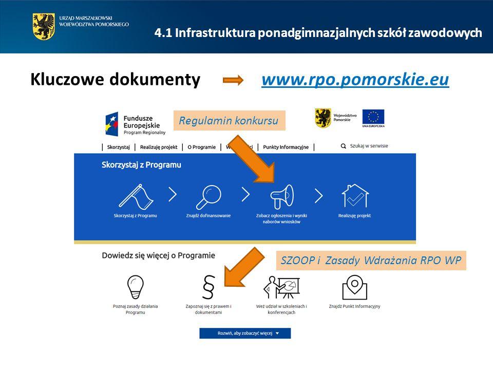 Regulamin konkursu SZOOP i Zasady Wdrażania RPO WP 4.1 Infrastruktura ponadgimnazjalnych szkół zawodowych Kluczowe dokumenty www.rpo.pomorskie.eu