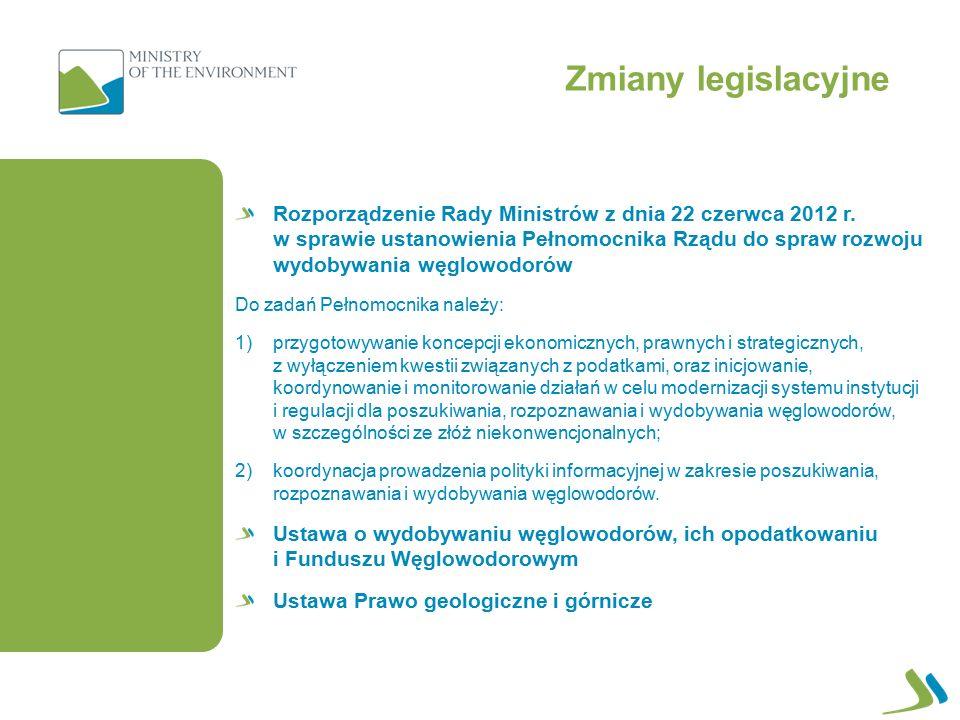 Zmiany legislacyjne Rozporządzenie Rady Ministrów z dnia 22 czerwca 2012 r.