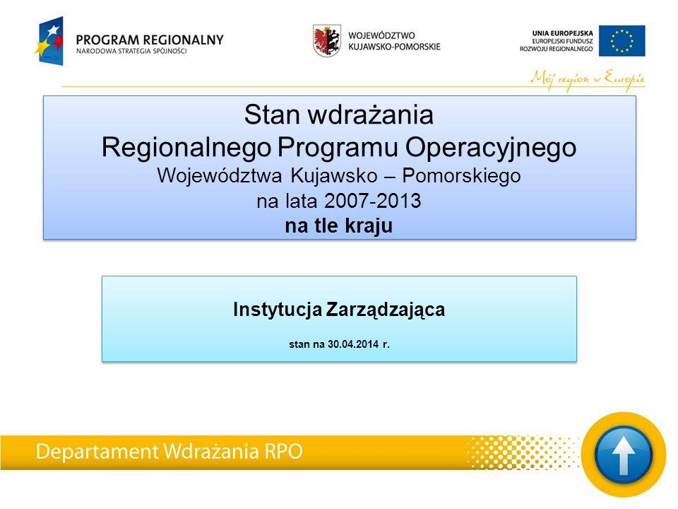 Stan wdrażania Regionalnego Programu Operacyjnego Województwa Kujawsko – Pomorskiego na lata 2007-2013 na tle kraju Instytucja Zarządzająca stan na 30.04.2014 r.