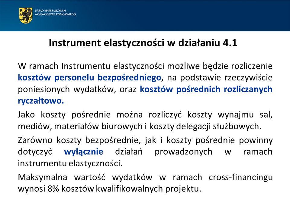 Koszty niekwalifikowalne w działaniu 4.1 zakup środków transportu, zakup sprzętu i wyposażenia nie podlegających amortyzacji oraz nieujętych w ewidencji środków trwałych, zakup zasobów bibliotecznych, w tym wydatki na zakup książek i księgozbiorów, koszty personelu bezpośredniego z wyłączeniem kosztu nadzoru inwestorskiego, autorskiego i kosztów rozliczanych w ramach instrumentu elastyczności, koszty pośrednie z wyłączeniem kosztów rozliczanych w ramach instrumentu elastyczności i kosztów personelu pośredniego rozliczanego na bazie rzeczywistych poniesionych wydatków.