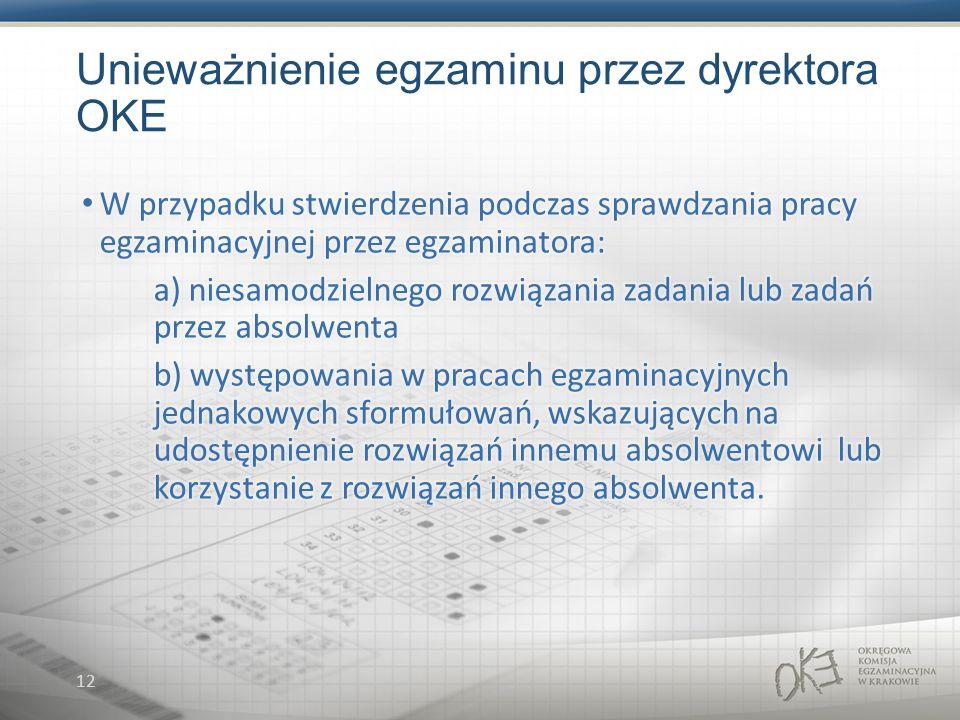 12 Unieważnienie egzaminu przez dyrektora OKE
