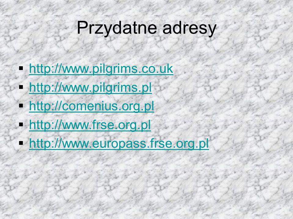 Przydatne adresy  http://www.pilgrims.co.uk http://www.pilgrims.co.uk  http://www.pilgrims.pl http://www.pilgrims.pl  http://comenius.org.pl http://comenius.org.pl  http://www.frse.org.pl http://www.frse.org.pl  http://www.europass.frse.org.pl http://www.europass.frse.org.pl