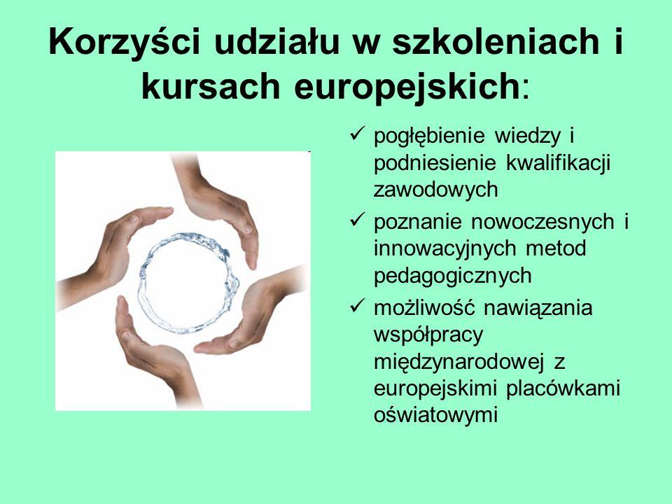 Korzyści udziału w szkoleniach i kursach europejskich: pogłębienie wiedzy i podniesienie kwalifikacji zawodowych poznanie nowoczesnych i innowacyjnych metod pedagogicznych możliwość nawiązania współpracy międzynarodowej z europejskimi placówkami oświatowymi