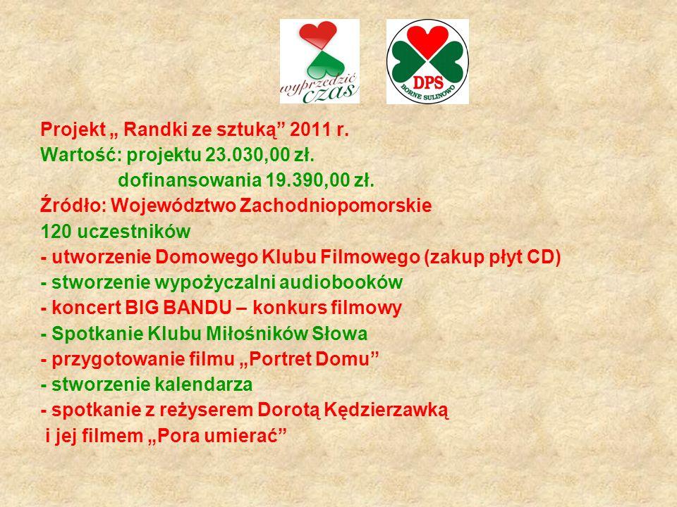 """Projekt """" Randki ze sztuką 2011 r.Wartość: projektu 23.030,00 zł."""