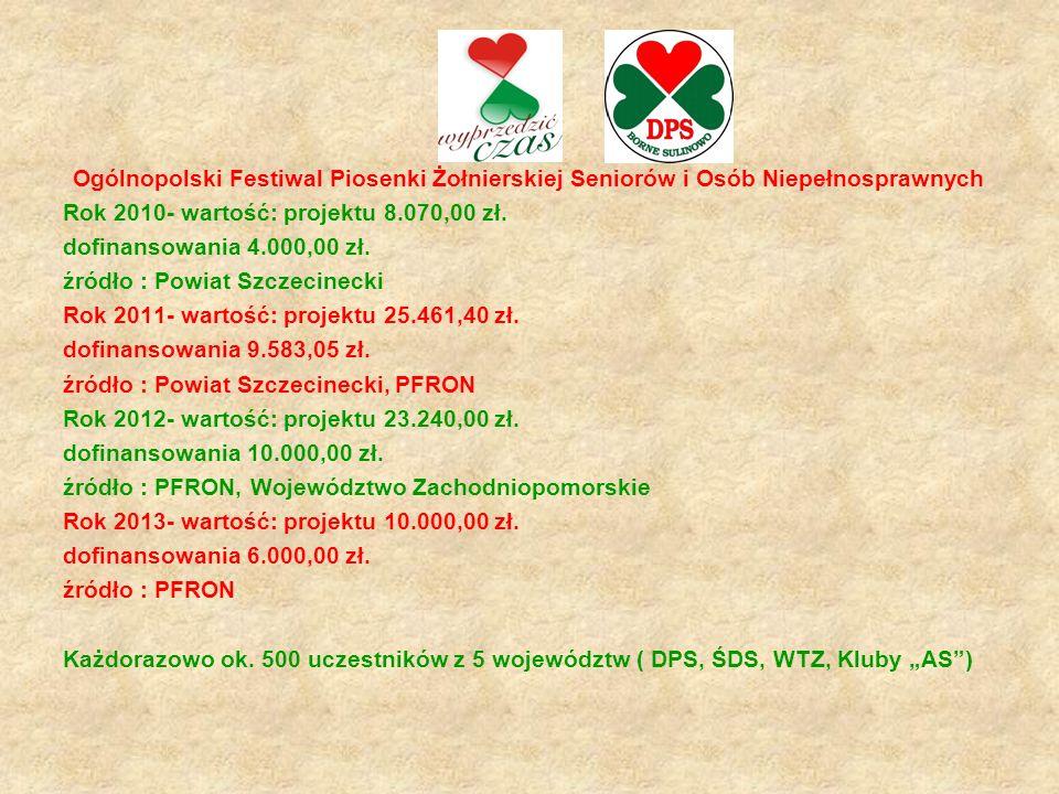 Ogólnopolski Festiwal Piosenki Żołnierskiej Seniorów i Osób Niepełnosprawnych Rok 2010- wartość: projektu 8.070,00 zł. dofinansowania 4.000,00 zł. źró