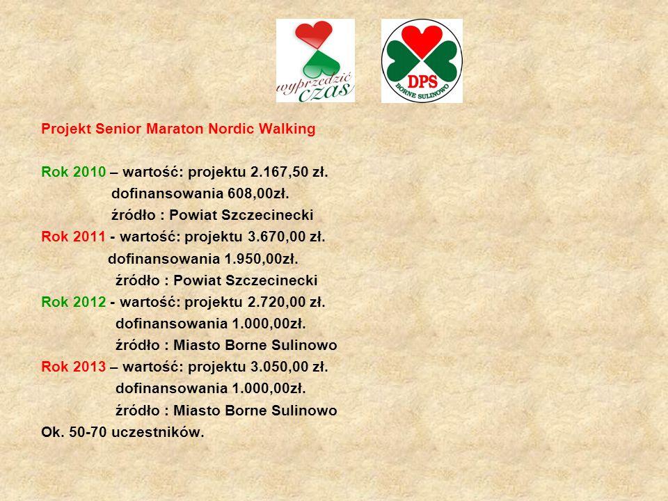 Projekt Senior Maraton Nordic Walking Rok 2010 – wartość: projektu 2.167,50 zł. dofinansowania 608,00zł. źródło : Powiat Szczecinecki Rok 2011 - warto