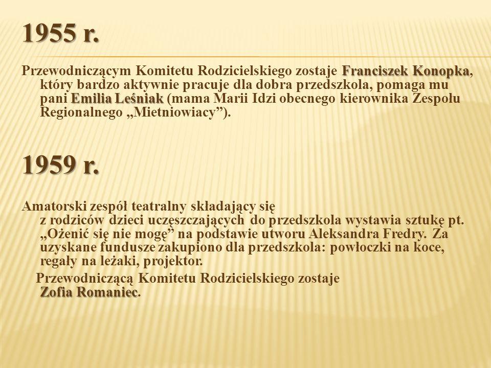 1955 r. Franciszek Konopka Emilia Leśniak Przewodniczącym Komitetu Rodzicielskiego zostaje Franciszek Konopka, który bardzo aktywnie pracuje dla dobra