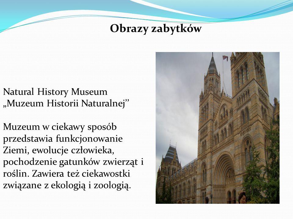 """Natural History Museum """"Muzeum Historii Naturalnej'' Muzeum w ciekawy sposób przedstawia funkcjonowanie Ziemi, ewolucje człowieka, pochodzenie gatunków zwierząt i roślin."""
