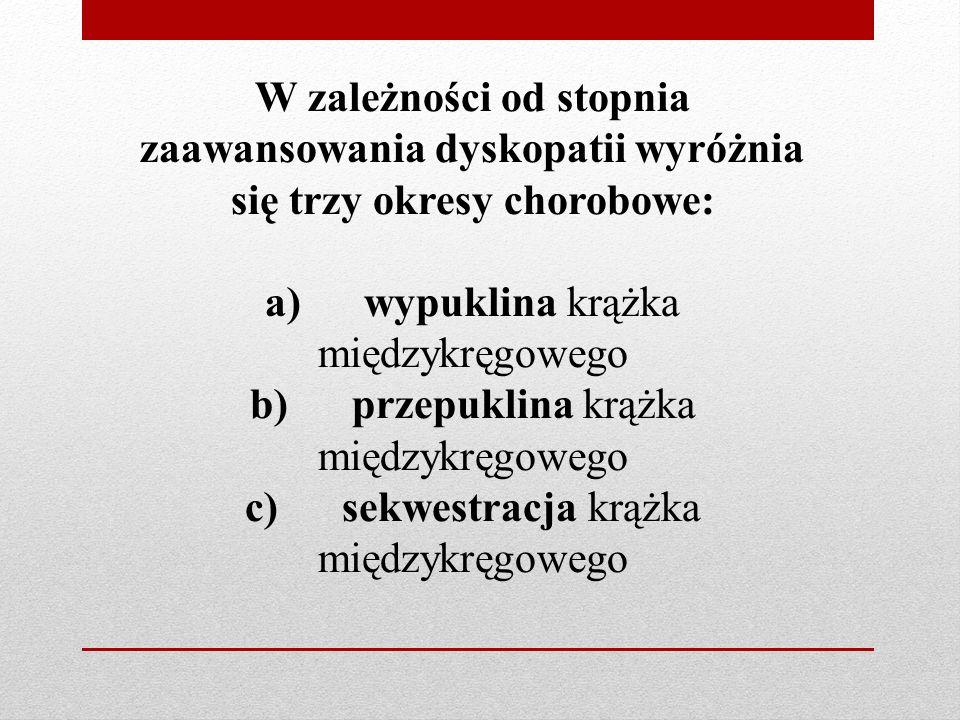 W zależności od stopnia zaawansowania dyskopatii wyróżnia się trzy okresy chorobowe: a) wypuklina krążka międzykręgowego b) przepuklina krążka międzyk