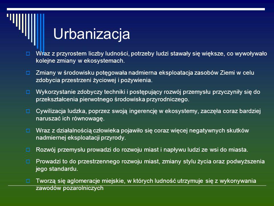 Urbanizacja  Wraz z przyrostem liczby ludności, potrzeby ludzi stawały się większe, co wywoływało kolejne zmiany w ekosystemach.  Zmiany w środowisk