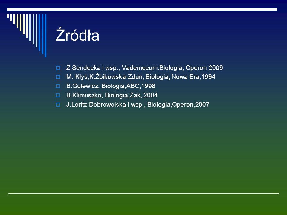 Źródła  Z.Sendecka i wsp., Vademecum.Biologia, Operon 2009  M. Kłyś,K.Żbikowska-Zdun, Biologia, Nowa Era,1994  B.Gulewicz, Biologia,ABC,1998  B.Kl