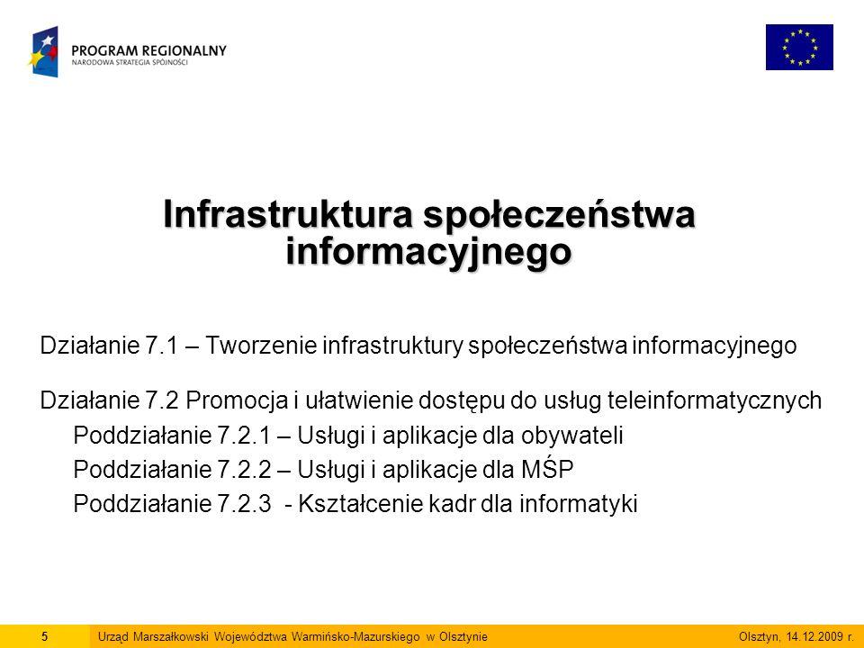 Działanie 7.1 – Tworzenie infrastruktury społeczeństwa informacyjnego Działanie 7.2 Promocja i ułatwienie dostępu do usług teleinformatycznych Poddziałanie 7.2.1 – Usługi i aplikacje dla obywateli Poddziałanie 7.2.2 – Usługi i aplikacje dla MŚP Poddziałanie 7.2.3 - Kształcenie kadr dla informatyki Infrastruktura społeczeństwa informacyjnego 5Urząd Marszałkowski Województwa Warmińsko-Mazurskiego w Olsztynie Olsztyn, 14.12.2009 r.
