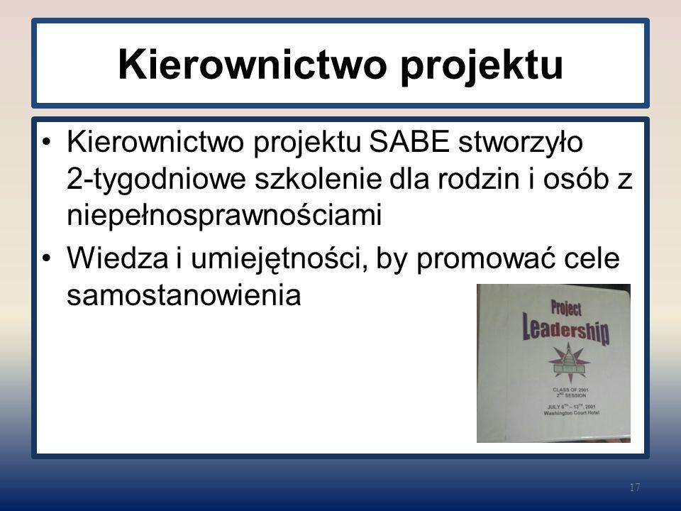 Kierownictwo projektu Kierownictwo projektu SABE stworzyło 2-tygodniowe szkolenie dla rodzin i osób z niepełnosprawnościami Wiedza i umiejętności, by promować cele samostanowienia 17
