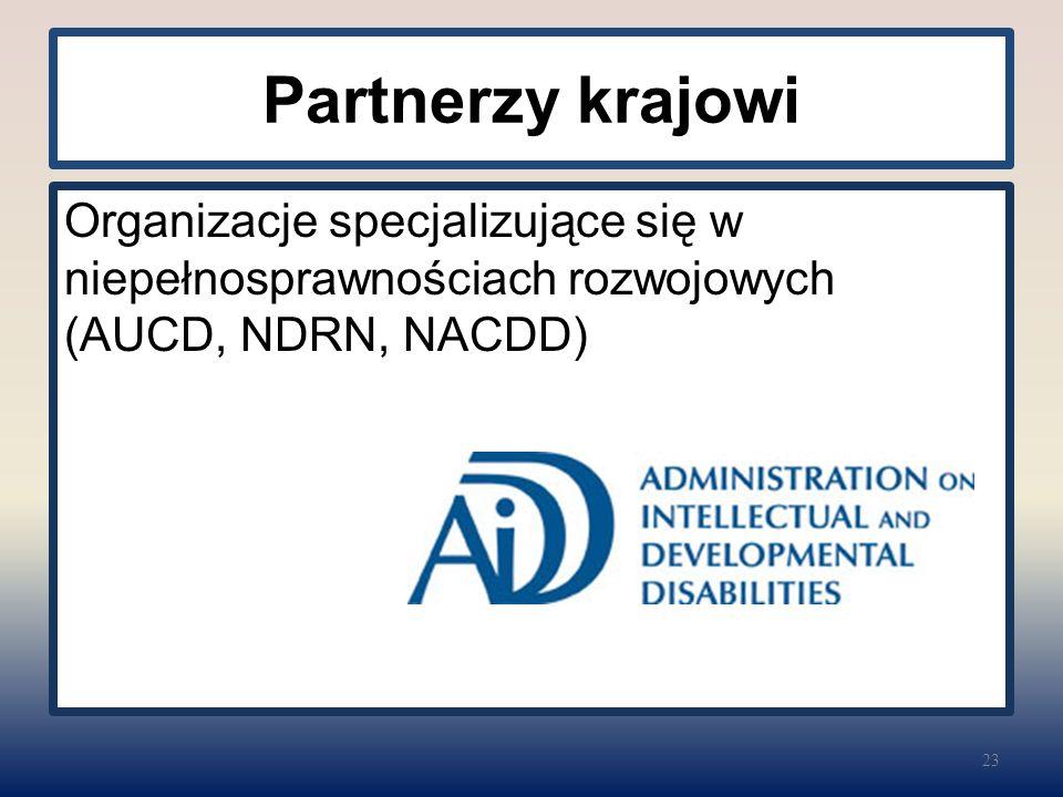 Partnerzy krajowi Organizacje specjalizujące się w niepełnosprawnościach rozwojowych (AUCD, NDRN, NACDD) 23