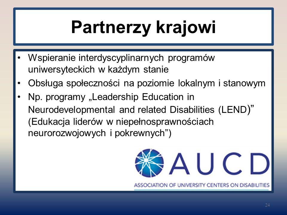 Partnerzy krajowi Wspieranie interdyscyplinarnych programów uniwersyteckich w każdym stanie Obsługa społeczności na poziomie lokalnym i stanowym Np. p