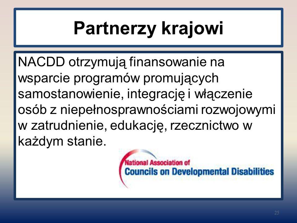 Partnerzy krajowi NACDD otrzymują finansowanie na wsparcie programów promujących samostanowienie, integrację i włączenie osób z niepełnosprawnościami rozwojowymi w zatrudnienie, edukację, rzecznictwo w każdym stanie.