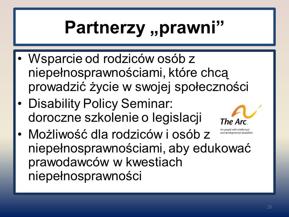 """Partnerzy """"prawni Wsparcie od rodziców osób z niepełnosprawnościami, które chcą prowadzić życie w swojej społeczności Disability Policy Seminar: doroczne szkolenie o legislacji Możliwość dla rodziców i osób z niepełnosprawnościami, aby edukować prawodawców w kwestiach niepełnosprawności 28"""
