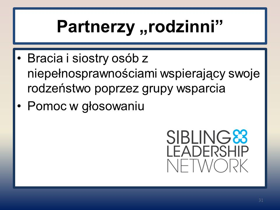 """Partnerzy """"rodzinni Bracia i siostry osób z niepełnosprawnościami wspierający swoje rodzeństwo poprzez grupy wsparcia Pomoc w głosowaniu 31"""