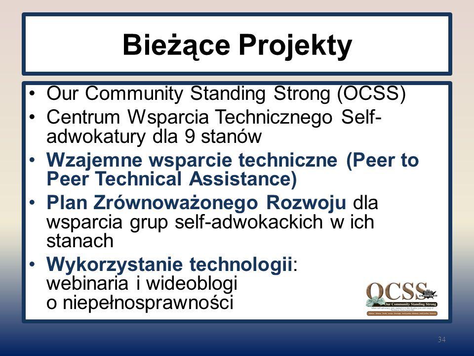 Bieżące Projekty Our Community Standing Strong (OCSS) Centrum Wsparcia Technicznego Self- adwokatury dla 9 stanów Wzajemne wsparcie techniczne (Peer to Peer Technical Assistance) Plan Zrównoważonego Rozwoju dla wsparcia grup self-adwokackich w ich stanach Wykorzystanie technologii: webinaria i wideoblogi o niepełnosprawności 34