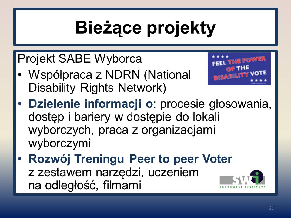 Bieżące projekty Projekt SABE Wyborca Współpraca z NDRN (National Disability Rights Network) Dzielenie informacji o: procesie głosowania, dostęp i bariery w dostępie do lokali wyborczych, praca z organizacjami wyborczymi Rozwój Treningu Peer to peer Voter z zestawem narzędzi, uczeniem na odległość, filmami 35