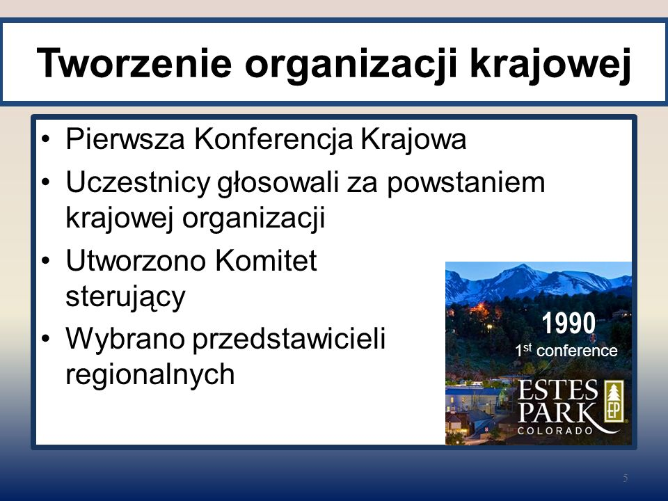 Tworzenie organizacji krajowej Pierwsza Konferencja Krajowa Uczestnicy głosowali za powstaniem krajowej organizacji Utworzono Komitet sterujący Wybran