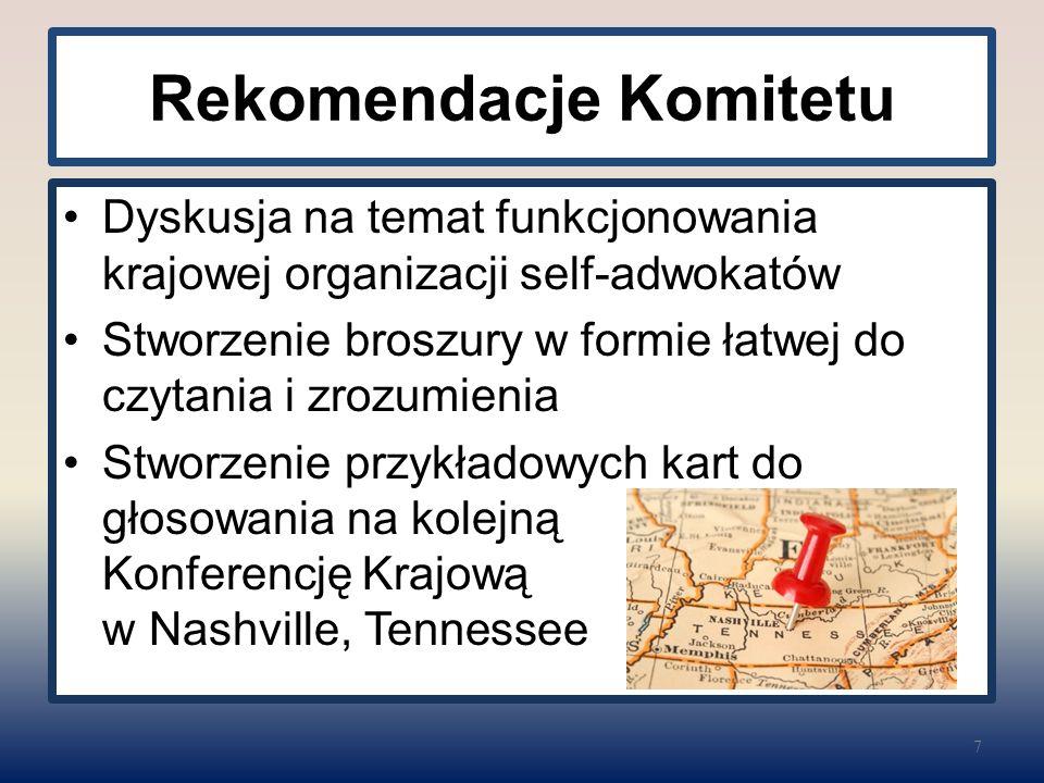 Rekomendacje Komitetu Dyskusja na temat funkcjonowania krajowej organizacji self-adwokatów Stworzenie broszury w formie łatwej do czytania i zrozumien