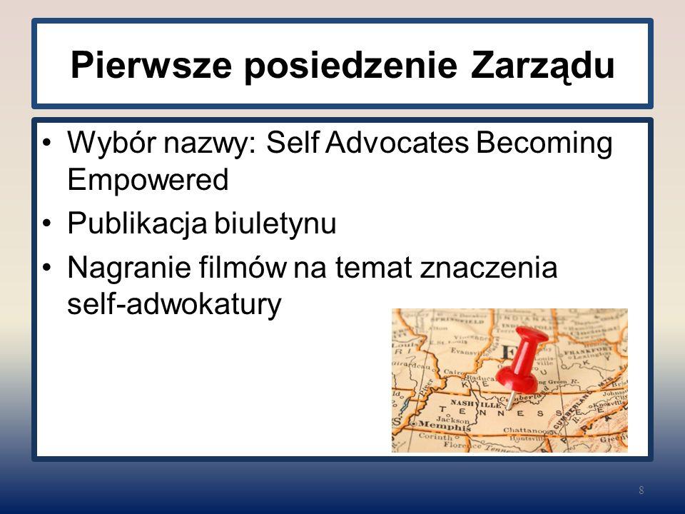 Pierwsze posiedzenie Zarządu Wybór nazwy: Self Advocates Becoming Empowered Publikacja biuletynu Nagranie filmów na temat znaczenia self-adwokatury 8