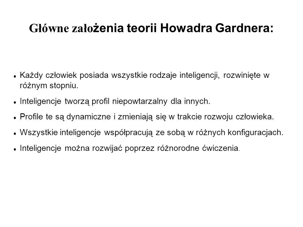 Główne zało żenia teorii Howadra Gardnera: Każdy człowiek posiada wszystkie rodzaje inteligencji, rozwinięte w różnym stopniu. Inteligencje tworzą pro