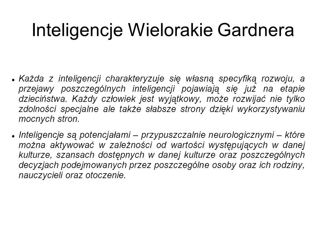 Inteligencje Wielorakie Gardnera Każda z inteligencji charakteryzuje się własną specyfiką rozwoju, a przejawy poszczególnych inteligencji pojawiają się już na etapie dzieciństwa.