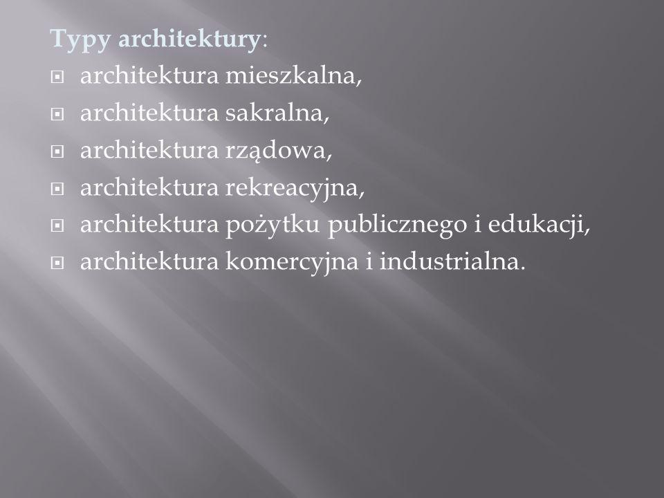 Typy architektury :  architektura mieszkalna,  architektura sakralna,  architektura rządowa,  architektura rekreacyjna,  architektura pożytku publicznego i edukacji,  architektura komercyjna i industrialna.