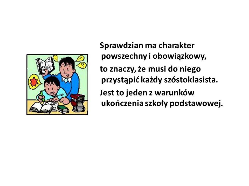 Wynik sprawdzianu otrzymasz wyrażony w procentach :  z części pierwszej z wyszczególnieniem wyniku z języka polskiego i wyniku z matematyki,  z drugiej części sprawdzianu z języka nowożytnego.