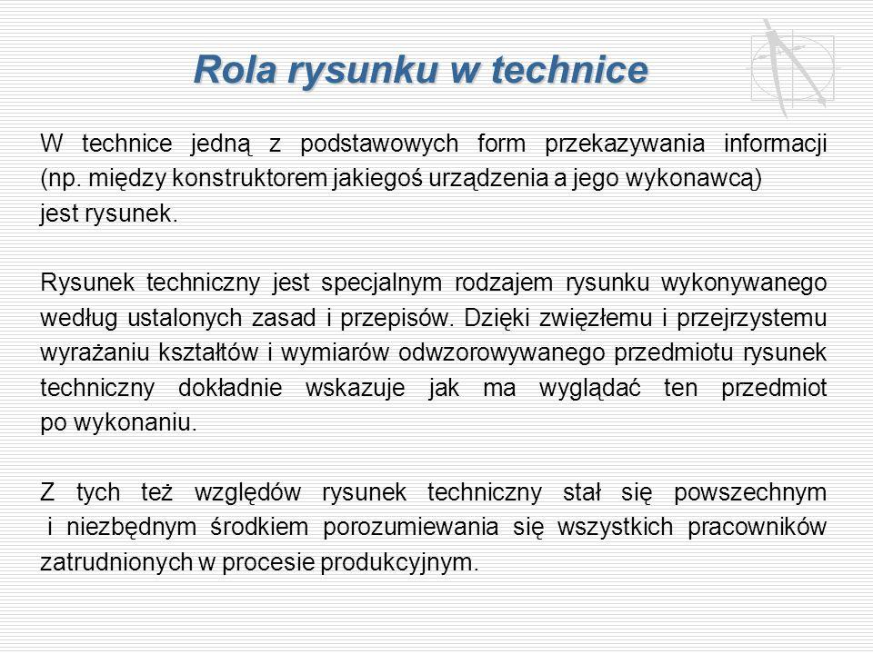 Rola rysunku w technice W technice jedną z podstawowych form przekazywania informacji (np. między konstruktorem jakiegoś urządzenia a jego wykonawcą)