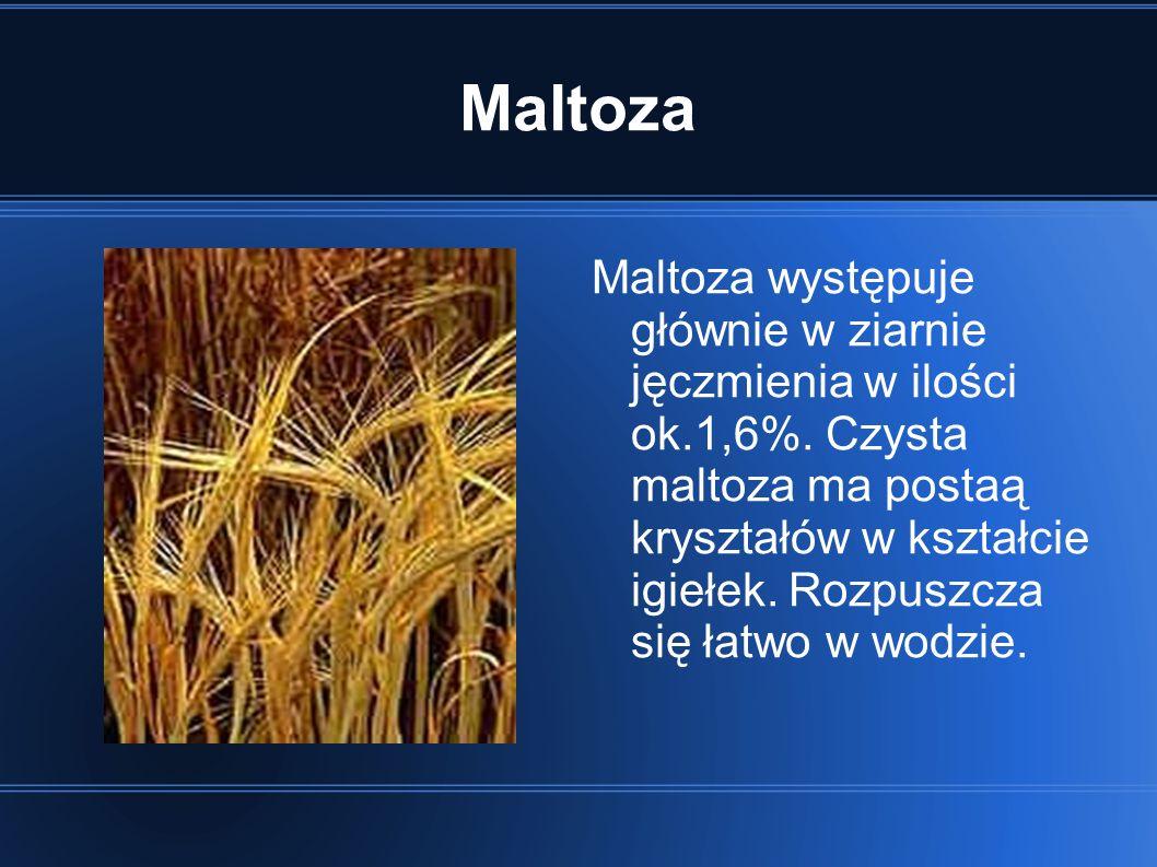 Maltoza Maltoza występuje głównie w ziarnie jęczmienia w ilości ok.1,6%.