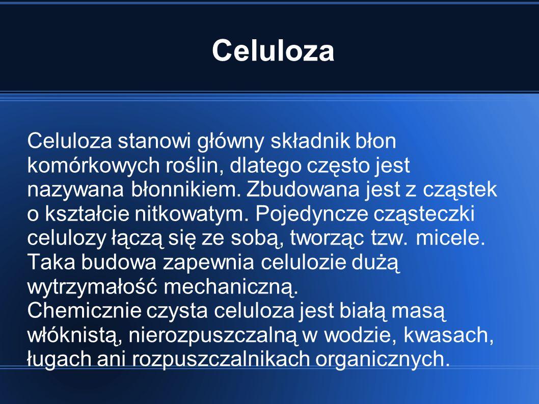 Celuloza Celuloza stanowi główny składnik błon komórkowych roślin, dlatego często jest nazywana błonnikiem.