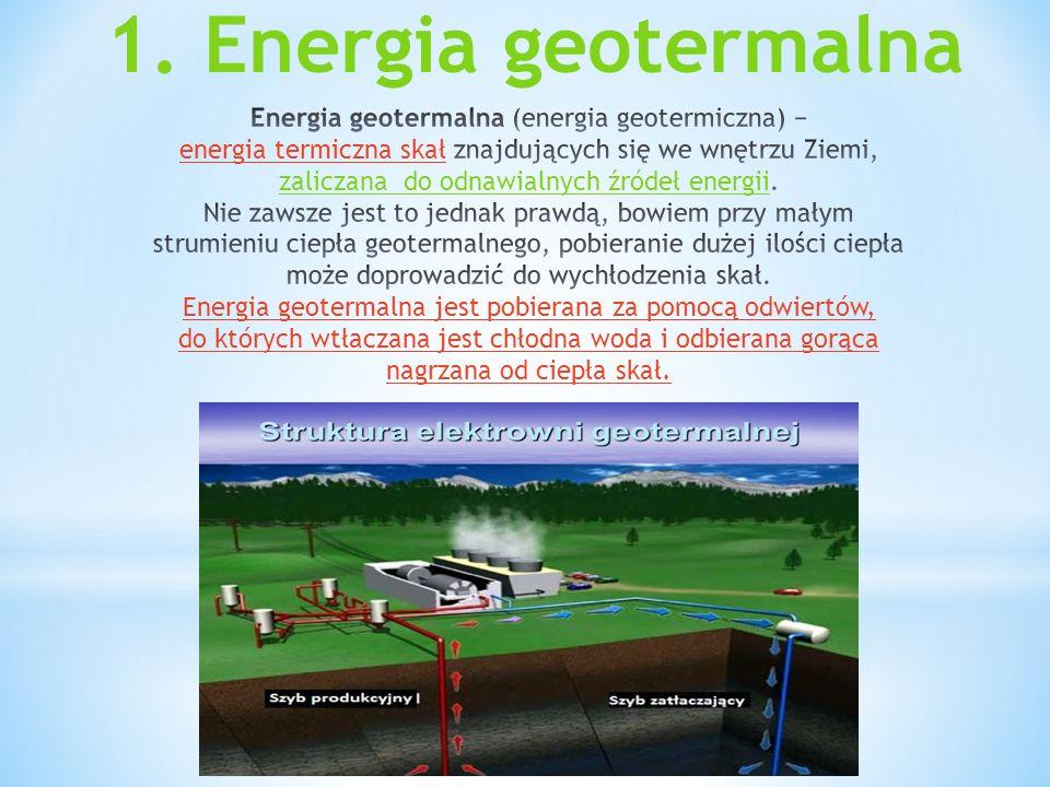 1. Co to jest energia geotermalna? 2. Energia geotermalna w Polsce. 3. Wady i zalety. 4. Źródła.
