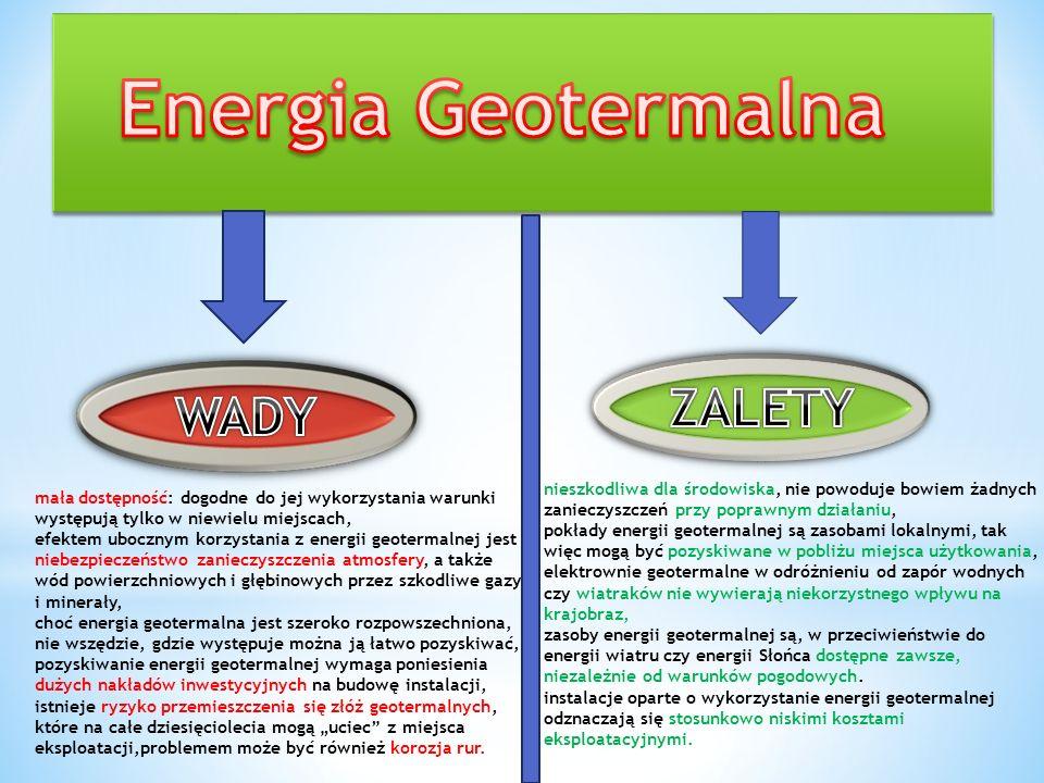 Polska ma bardzo dobre warunki geotermalne, gdyż 80% powierzchni kraju jest pokryte przez 2 prowincje geotermalne: podkarpacką i karpacką. Temperatura