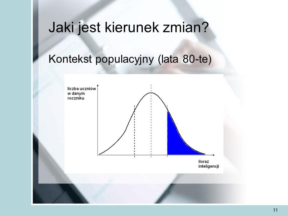 11 Jaki jest kierunek zmian Kontekst populacyjny (lata 80-te)