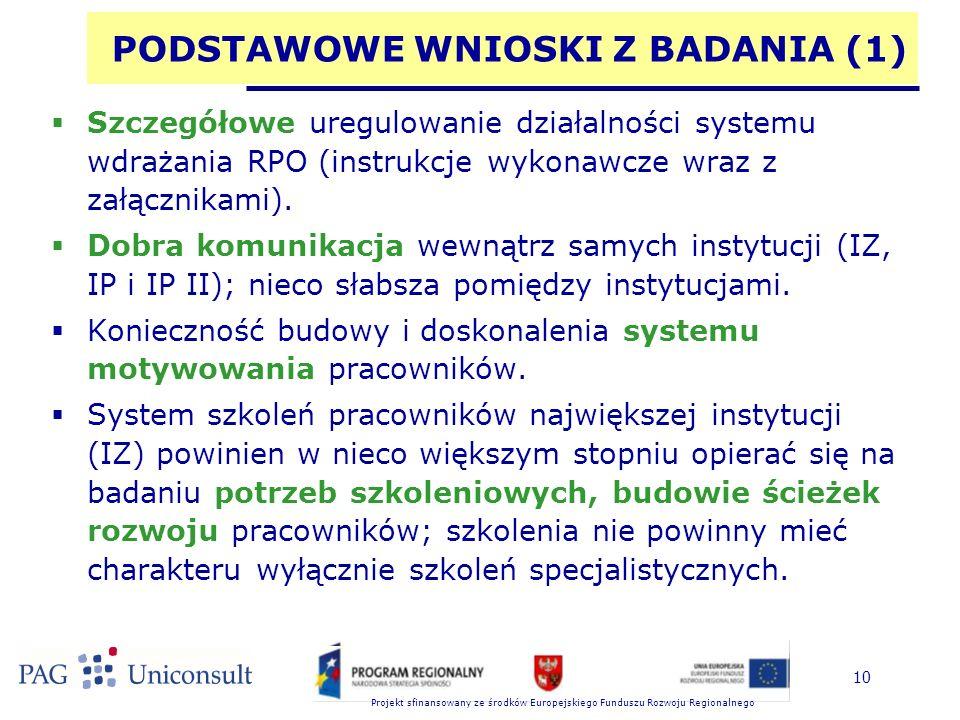 Projekt sfinansowany ze środków Europejskiego Funduszu Rozwoju Regionalnego 10 PODSTAWOWE WNIOSKI Z BADANIA (1)  Szczegółowe uregulowanie działalnośc