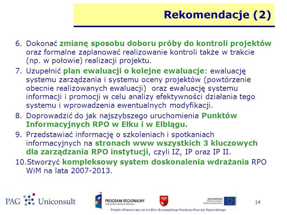 Projekt sfinansowany ze środków Europejskiego Funduszu Rozwoju Regionalnego 14 Rekomendacje (2) 6.Dokonać zmianę sposobu doboru próby do kontroli proj