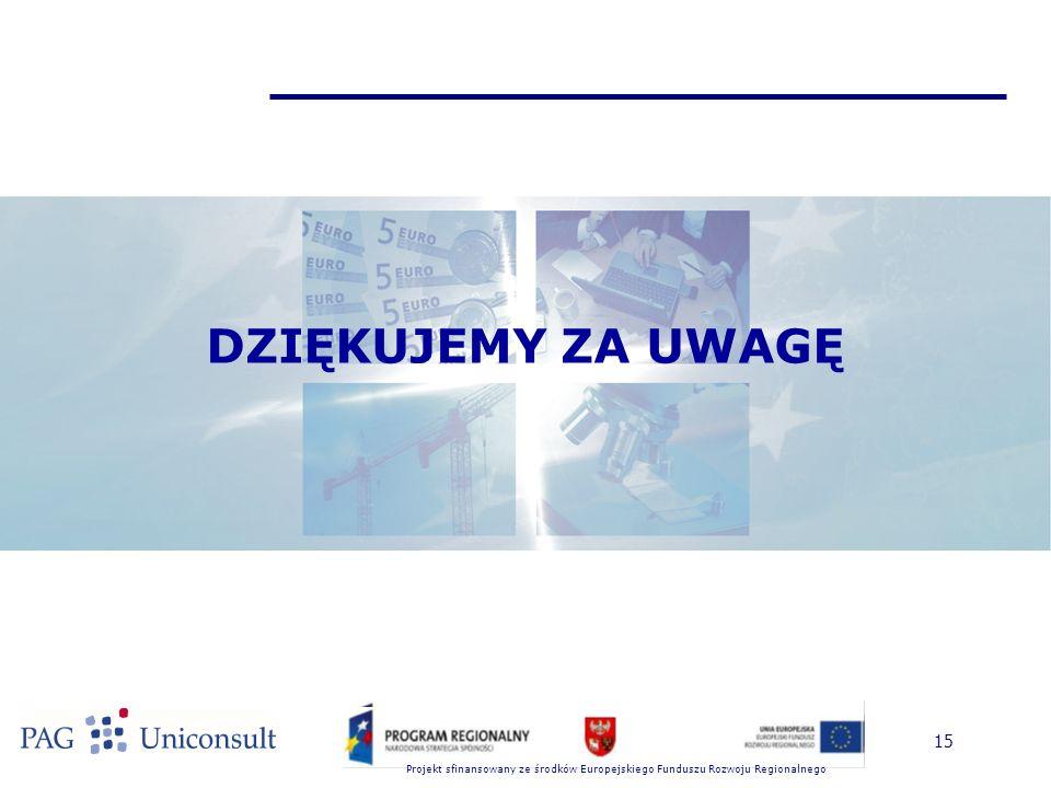 Projekt sfinansowany ze środków Europejskiego Funduszu Rozwoju Regionalnego 15 DZIĘKUJEMY ZA UWAGĘ