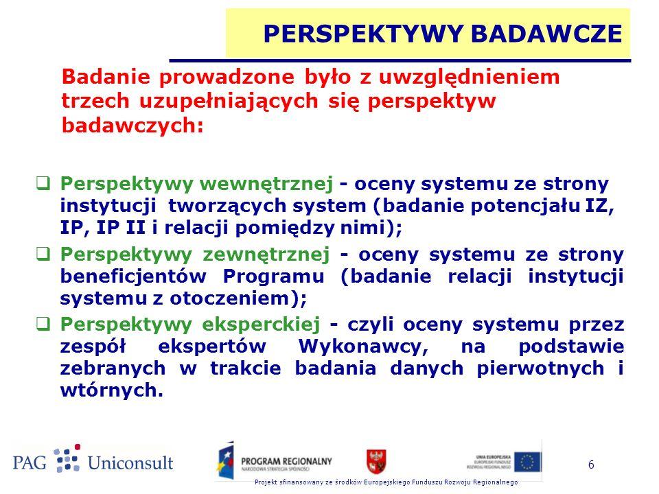 Projekt sfinansowany ze środków Europejskiego Funduszu Rozwoju Regionalnego 6 PERSPEKTYWY BADAWCZE  Perspektywy wewnętrznej - oceny systemu ze strony